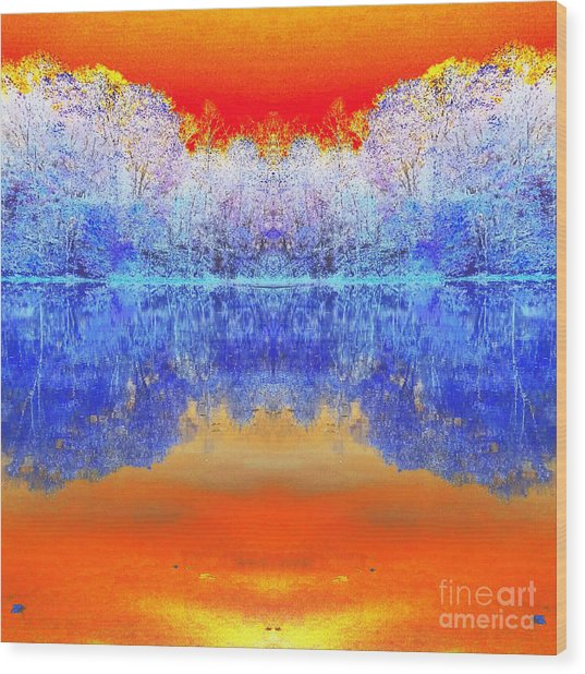 Lake Of Many Colors  Wood Print