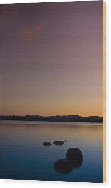 Lake Of Menteith By Sunset Wood Print