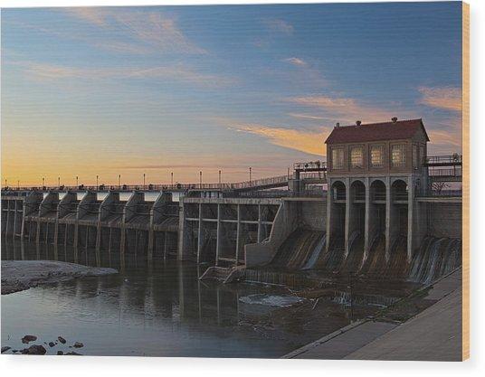 Lake Overholser Dam Wood Print
