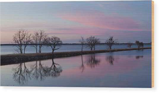 Lake Overholser Sunset Wood Print