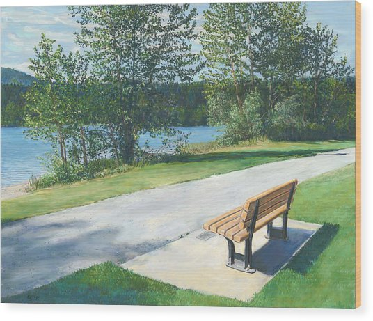 Lake Padden Series - Memorial Bench Of Andrew Phillip Jones Wood Print