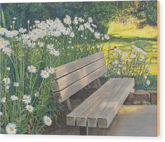 Lake Padden Series - Memorial Bench Of Judy Winter Wood Print