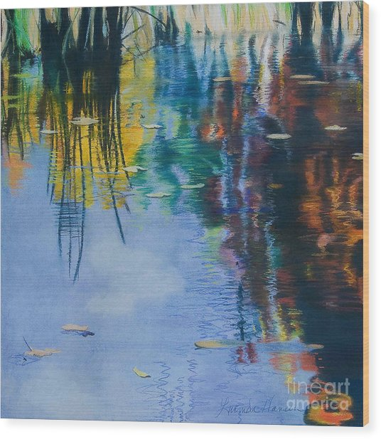 Lake Pearl Reflections Wood Print by Lucinda  Hansen