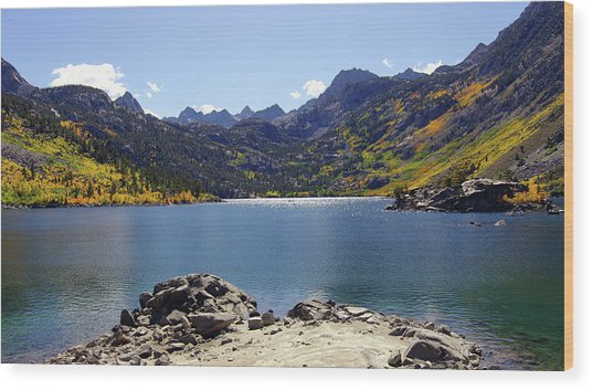 Lake Sabrina In Fall Colors Wood Print