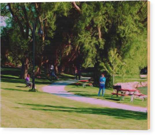 Lake Side Park Wood Print