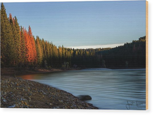 Lake Sunrise  Wood Print