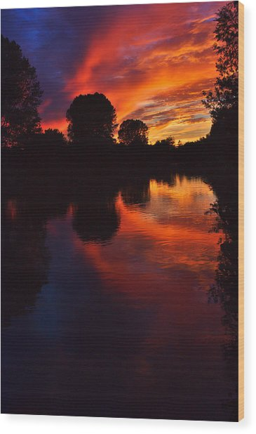 Wood Print featuring the photograph Lake Sunset Reflections by Jeremy Hayden