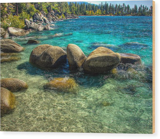 Lake Tahoe Beach And Granite Boulders Wood Print