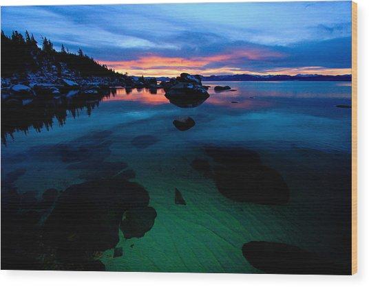 Lake Tahoe Clarity At Sundown Wood Print