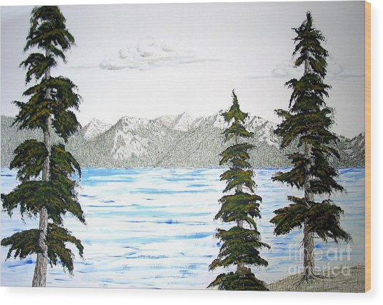 Lake Tahoe In Summer Wood Print by Ed Moore