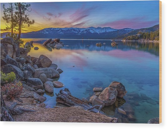 Lake Tahoe Spring Kaleidoscope  Wood Print