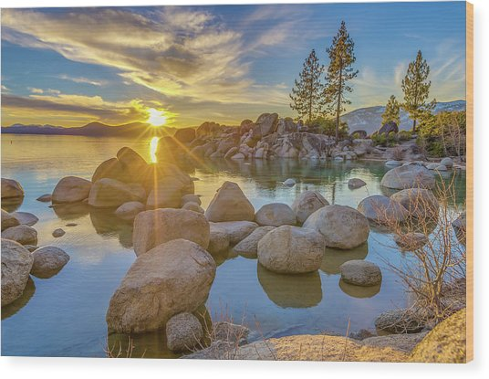 Lake Tahoe Spring Starburst Wood Print