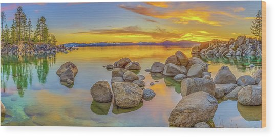 Lake Tahoe Spring Sunset Panoramic Wood Print