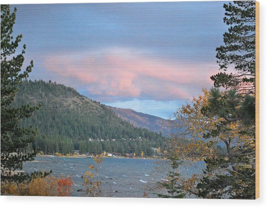 Lake Tahoe Sunset Wood Print by Linda Sramek