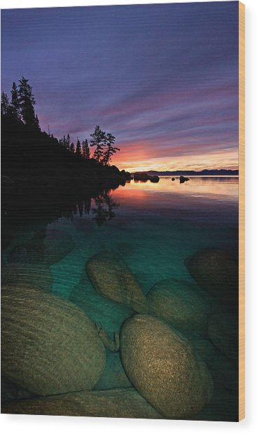 Lake Tahoe Sunset Portrait Wood Print