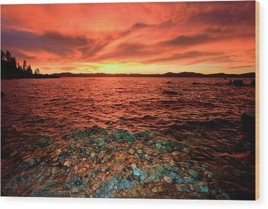 Lake Tahoe...blood Moon Sunset Wood Print