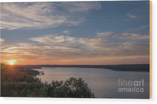 Lake Travis During Sunset With Clouds In The Sky Wood Print