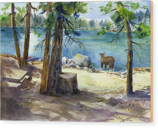 Lake Valley Bear Wood Print