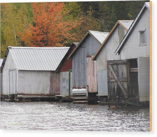 Lake Vermillion Boathouses Wood Print