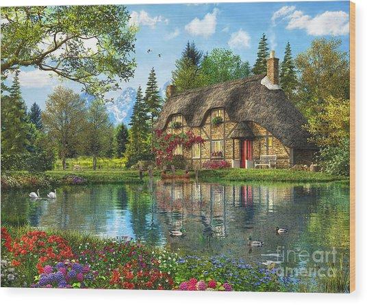 Lake View Cottage Wood Print