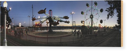 Lakeside Amusement Park At Night Panorama Photo Wood Print by Jeff Schomay