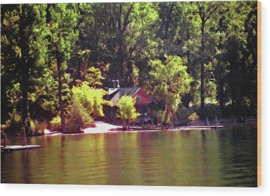 Lakeside Cabin In Idaho Usa Wood Print by Steve Ohlsen