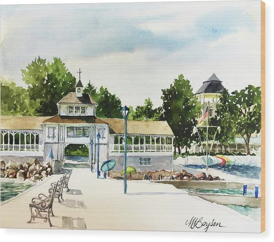 Lakeside Dock And Pavilion Wood Print