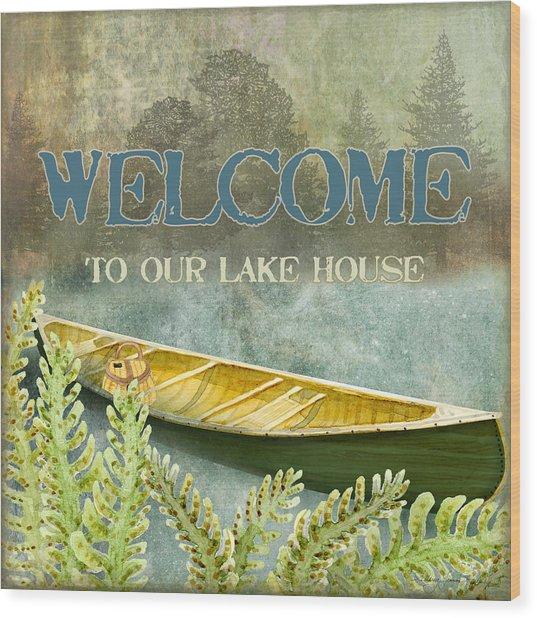 Lakeside Lodge - Welcome Sign Wood Print