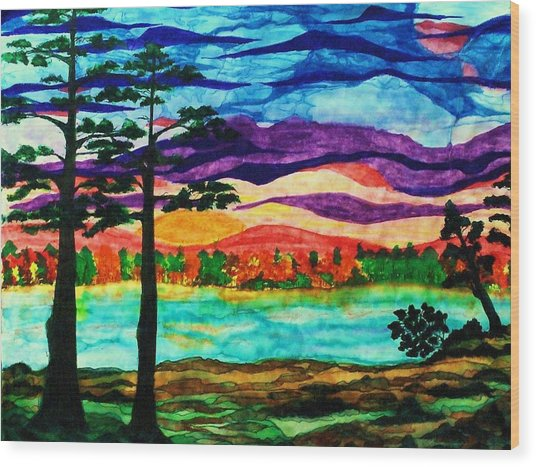 Lakeside Morning Awe Wood Print by Jeanette Stewart