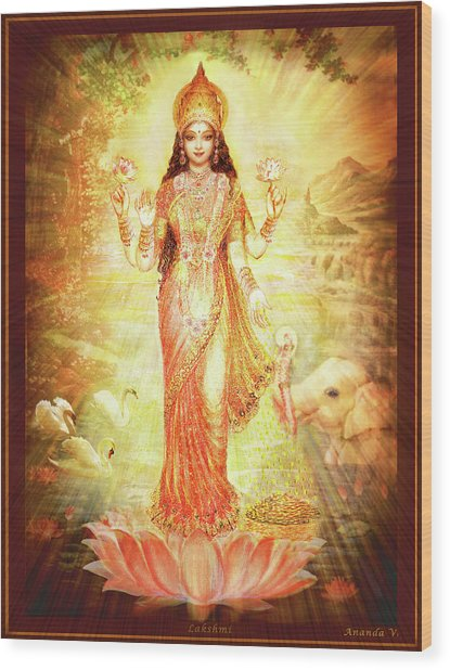 Lakshmi Goddess Of Fortune Wood Print by Ananda Vdovic