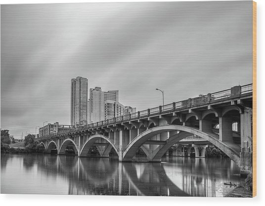 Lamar Bridge In Austin, Texas Wood Print