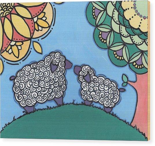 Lamb And Mama Sheep Wood Print