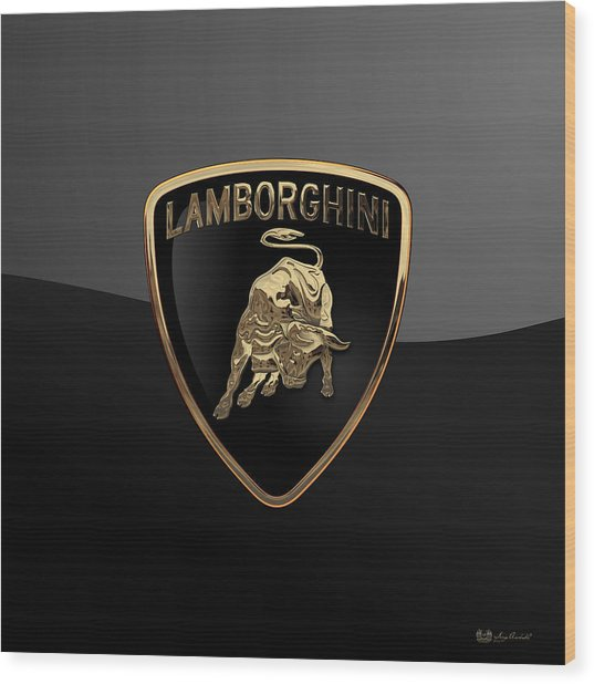 Lamborghini - 3d Badge On Black Wood Print