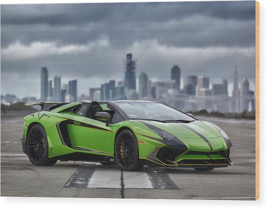 Wood Print featuring the photograph #lamborghini #aventadorsv #superveloce #roadster #print by ItzKirb Photography