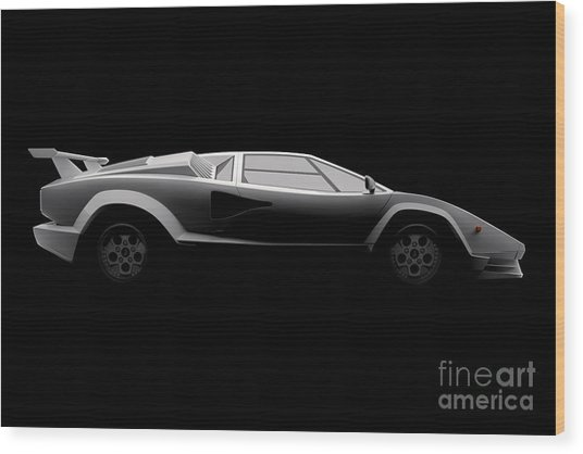 Lamborghini Countach 5000 Qv 25th Anniversary - Side View Wood Print