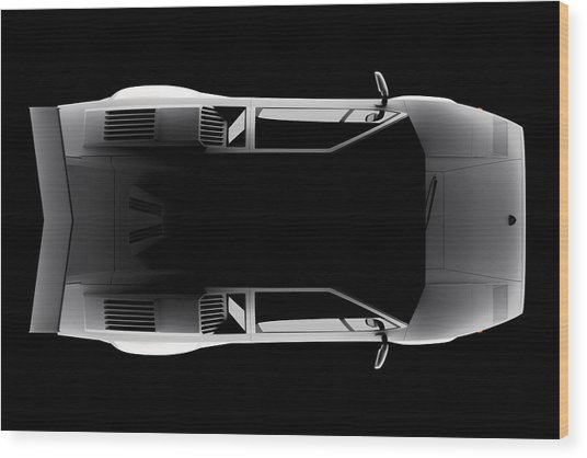 Lamborghini Countach 5000 Qv 25th Anniversary - Top View Wood Print