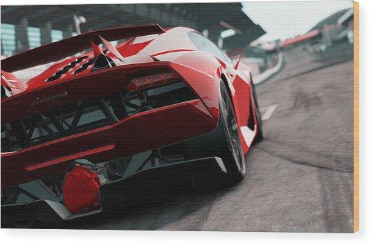 Lamborghini Sesto Elemento - Rear View Wood Print by Andrea Mazzocchetti