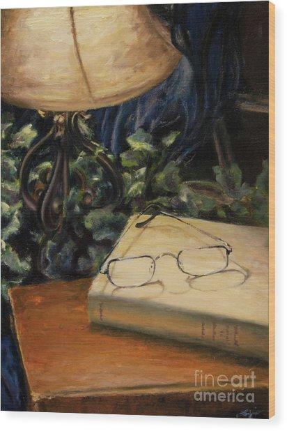 Lamp Light Wood Print by Lori McCray