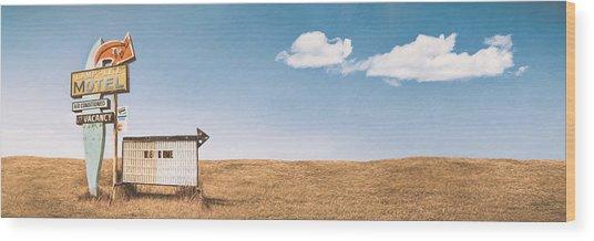 Lamp-lite Motel Wood Print
