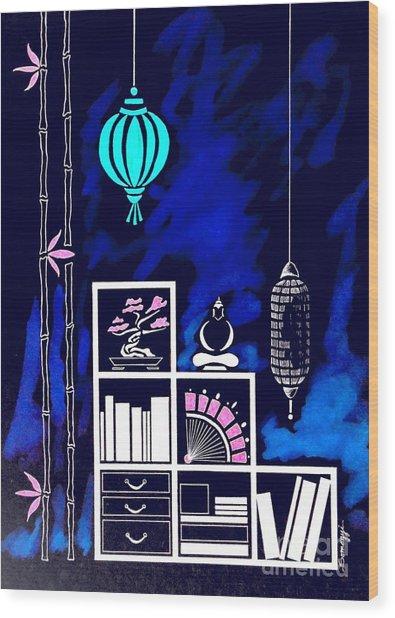 Lamps, Books, Bamboo -- Negative Wood Print