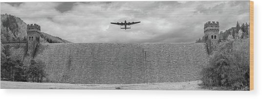 Wood Print featuring the photograph Lancaster Over The Derwent Dam Bw Version by Gary Eason