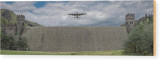 Wood Print featuring the photograph Lancaster Over The Derwent Dam by Gary Eason