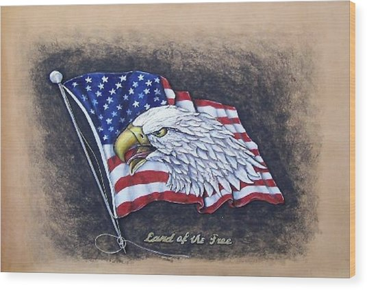 Land Of The Free Wood Print by Lilly King