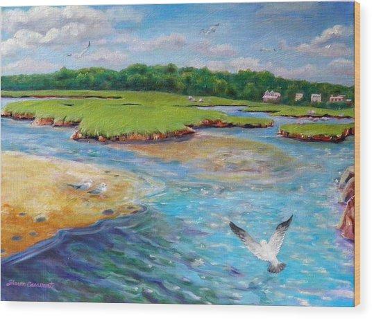 Landing At Jones River Salt Marsh Wood Print