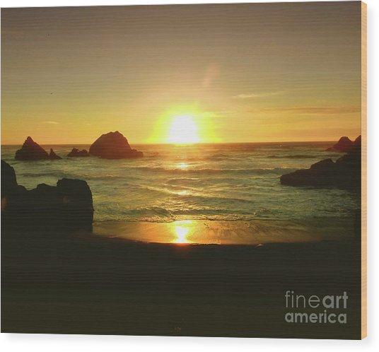 Lands End Sunset-the Golden Hour Wood Print