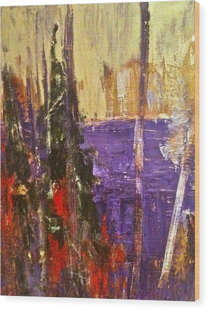 Landscape Abstract In Purple Wood Print by Mary-Lynn Bastian