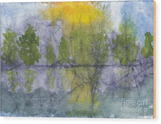 Landscape Reflection Abstraction On Masa Paper Wood Print