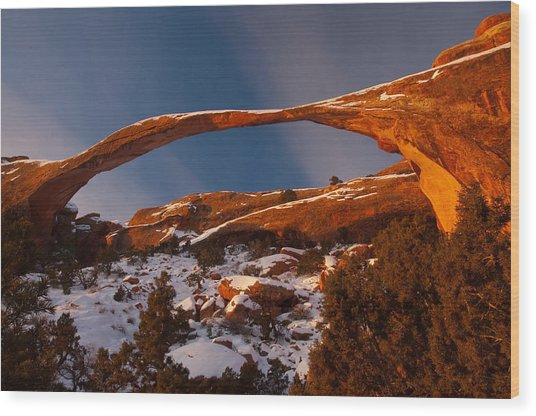 Landscape Arch Sunrise Wood Print