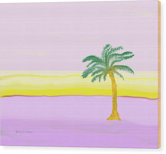 Landscape In Pink And Yellow Wood Print