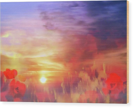 Wood Print featuring the digital art Landscape Of Dreaming Poppies by Valerie Anne Kelly